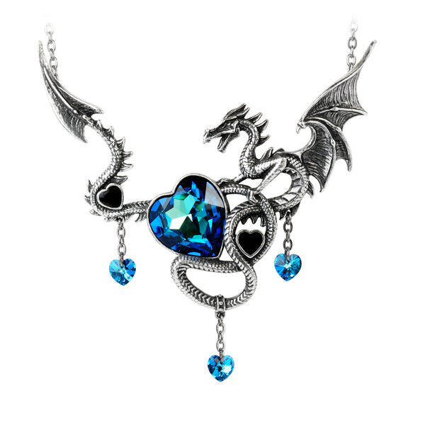 Draig O Gariad Statement Necklace With Swarovski Crystals Celtic Dragon Jewelry Necklace - The Tipsy Dragon