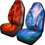 Fire and Ice Duelling Flying Dragons Seat Covers Seat Covers - The Tipsy Dragon