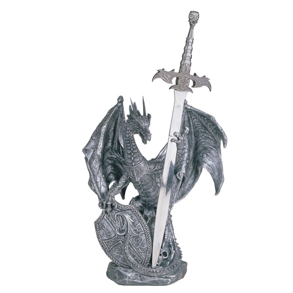 Armoured Dragon Holding Shield and Sword Figurine Sword Figurines - The Tipsy Dragon
