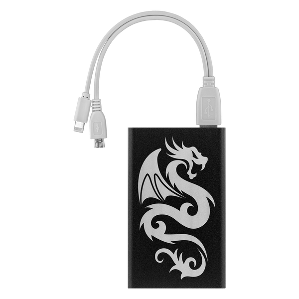 Etched Dragon Power Bank, Apple Android iPhone Samsung Power Banks - The Tipsy Dragon