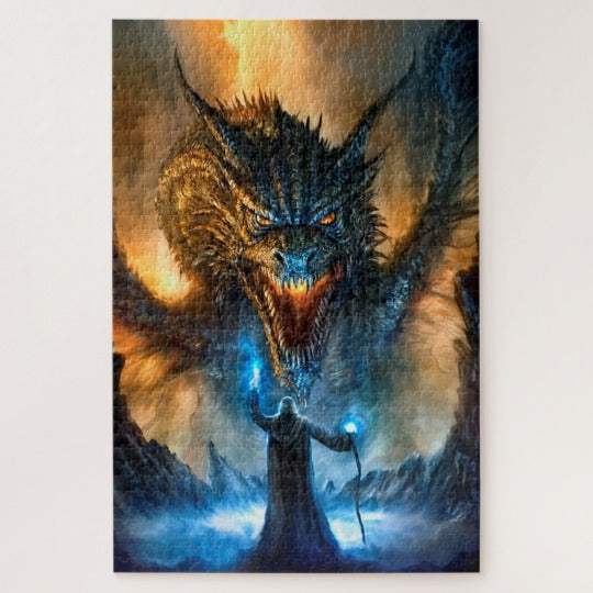 The Wizard and The Dragon 1000+ Piece Puzzle Puzzles - The Tipsy Dragon