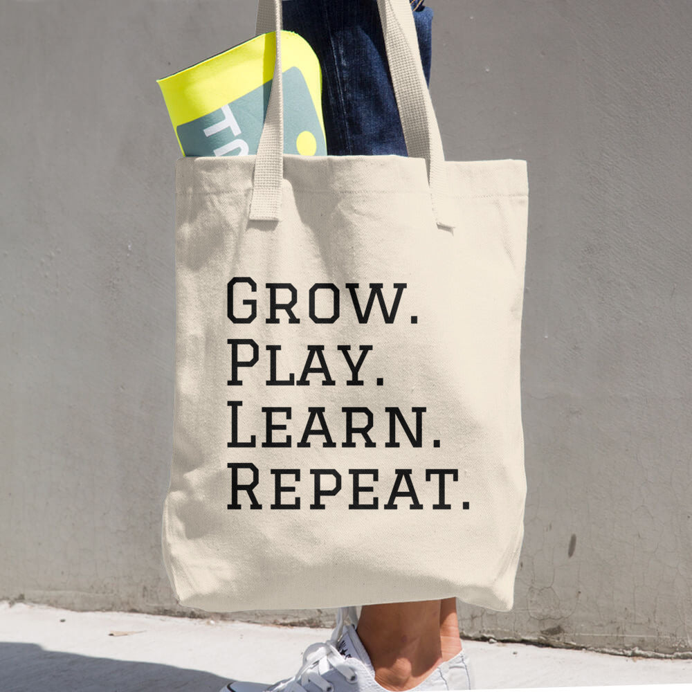 GROW. PLAY. LEARN. REPEAT. Cotton Tote Bag