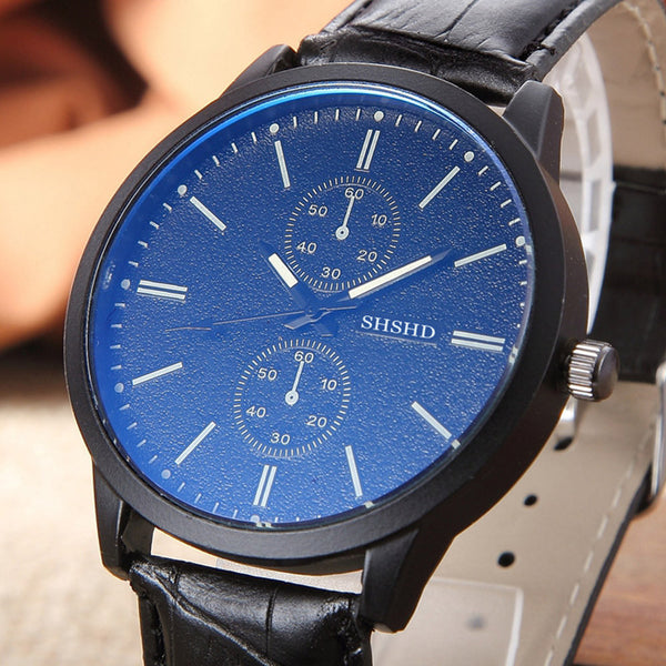 Men's Leather Electronic Analog Wrist Watch.