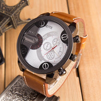 Luxury Mens Analog Sport Steel Case Quartz Leather Wrist Watch