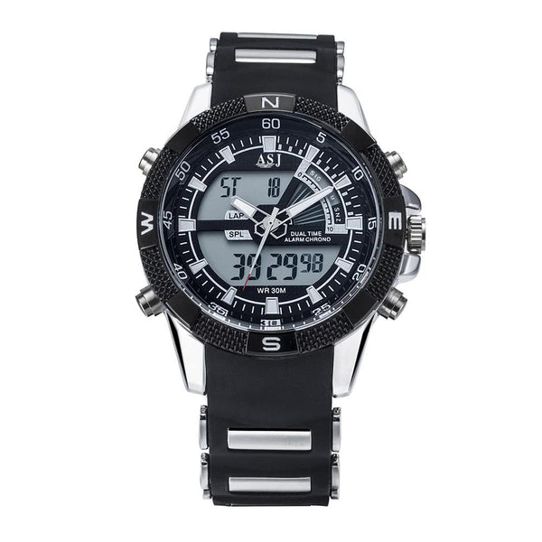 Dual Japanese Movement Analog Digital Display Multifunctional Time Date Day Alarm Chronograph Silica Gel Strap Band Men's Business Sport Military Wrap Wrist Quartz Watch