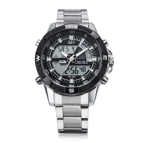 Dual Japanese Movement Analog Digital Display Multifunctional Time Date Day Alarm Chronograph Stainless Steel Strap Band Men's Business Sport Military Wrap Wrist Quartz Watch