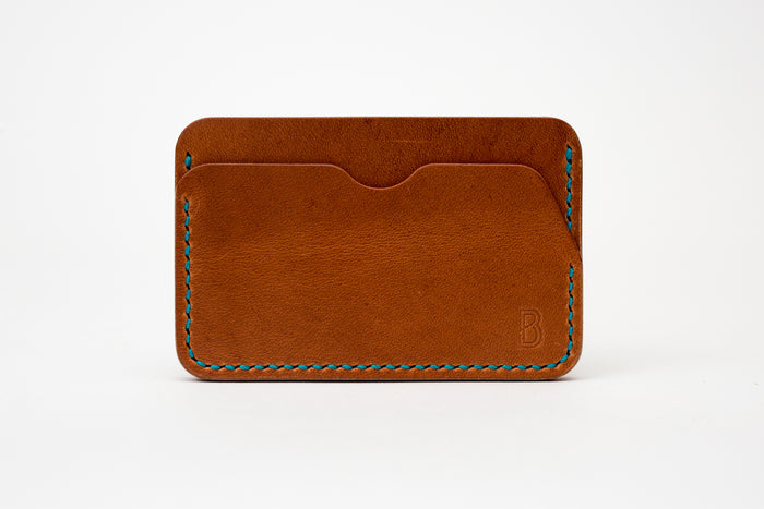 Benjamin Bott Card Holder Natural Veg-Green Stitching