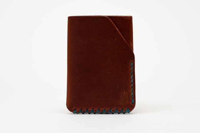 Benjamin Bott Bifold Wallet Dark Tan Blue Stitching