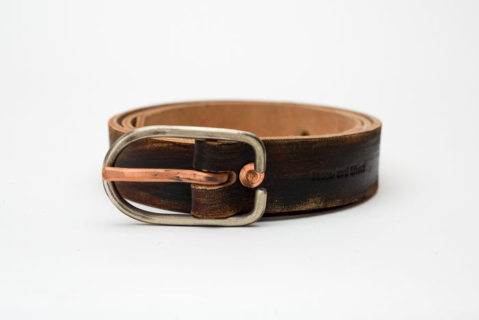 Cause & Effect Black Brown Belt w/Hand Hammered Buckle