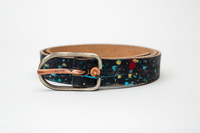 Cause & Effect Navy Splatter Belt w/Hand Hammered Buckle