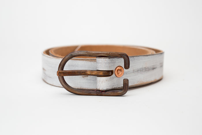 Cause & Effect Dirty White Belt w/Hand Hammered Buckle