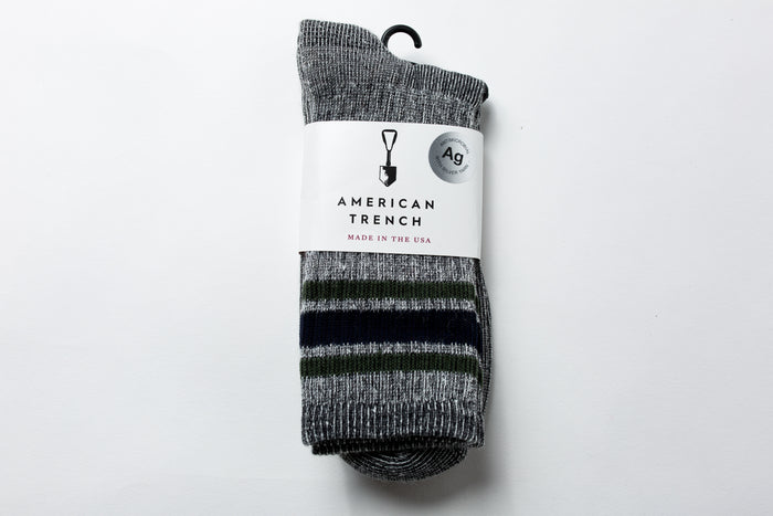 American Trench Merino Activity Sock-Navy/Green Stripe