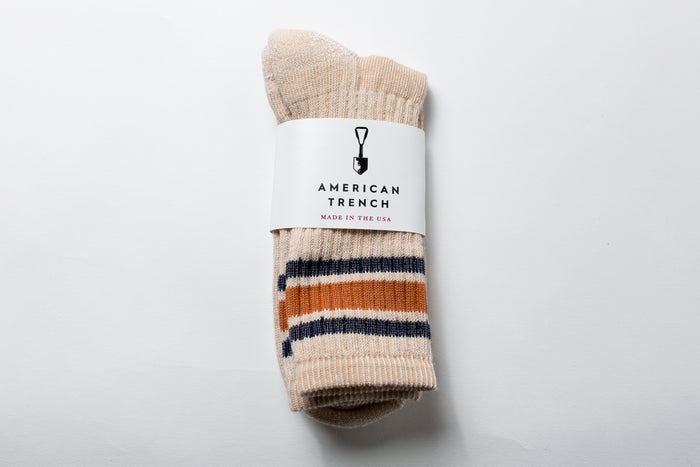 American Trench Merino Activity Sock-Tan/Rust