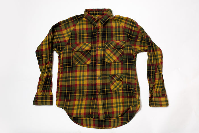 Battenwear Camp Shirt Cotton Flannel Plaid Mustard/Olive