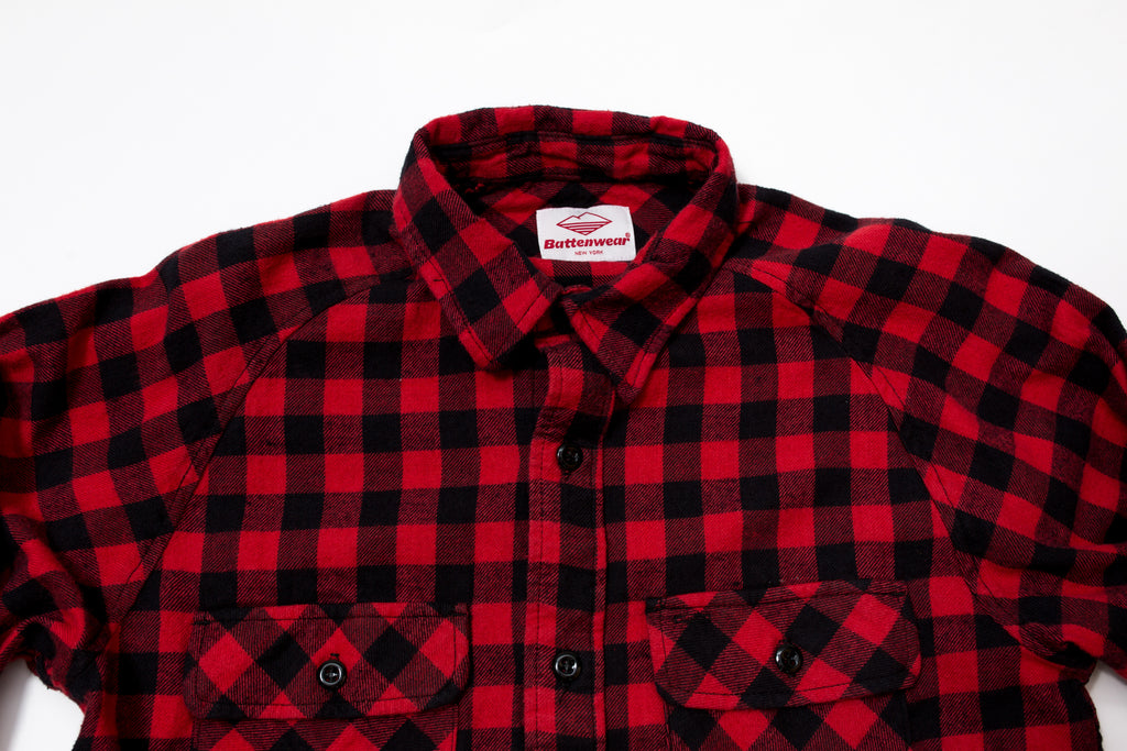 Battenwear Camp Shirt Cotton Flannel Red/Black Buffalo Check