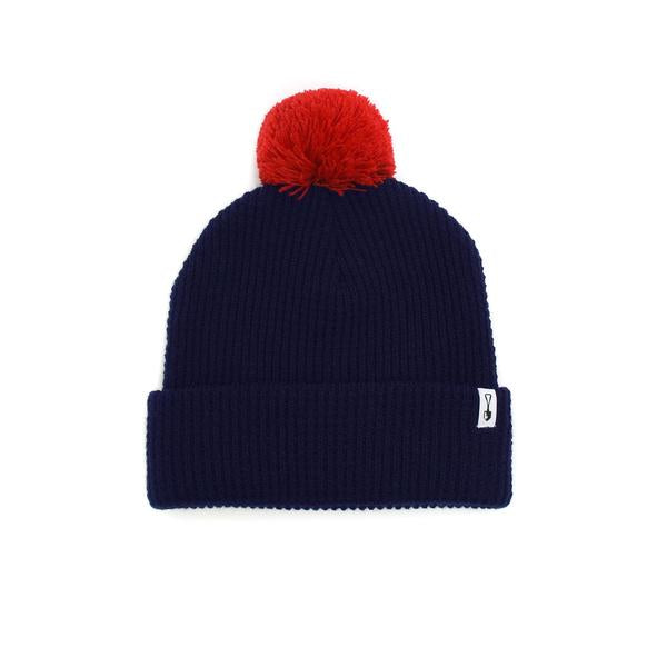 American Trench Acrylic Pom Beanie-Navy/Red