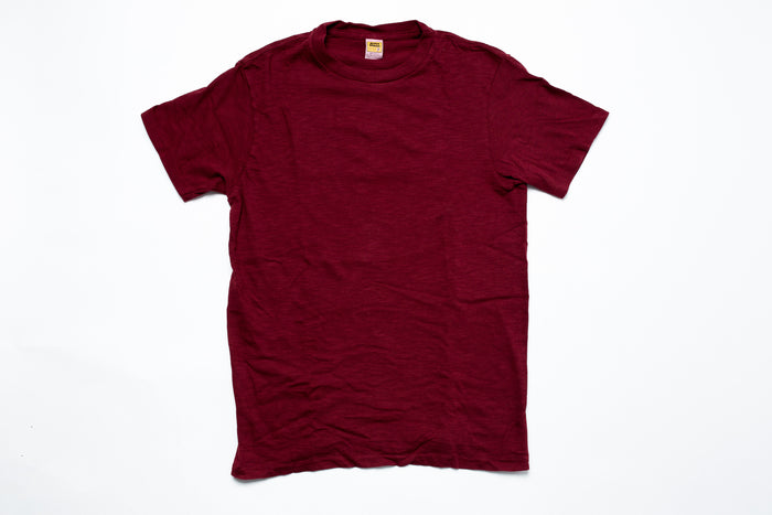 Velva Sheen Rolled T-Shirt-Burgundy