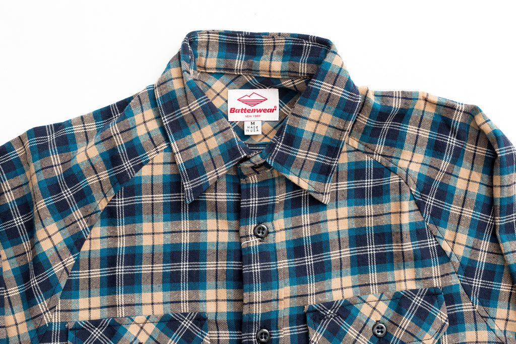 Battenwear Camp Shirt Blue Plaid