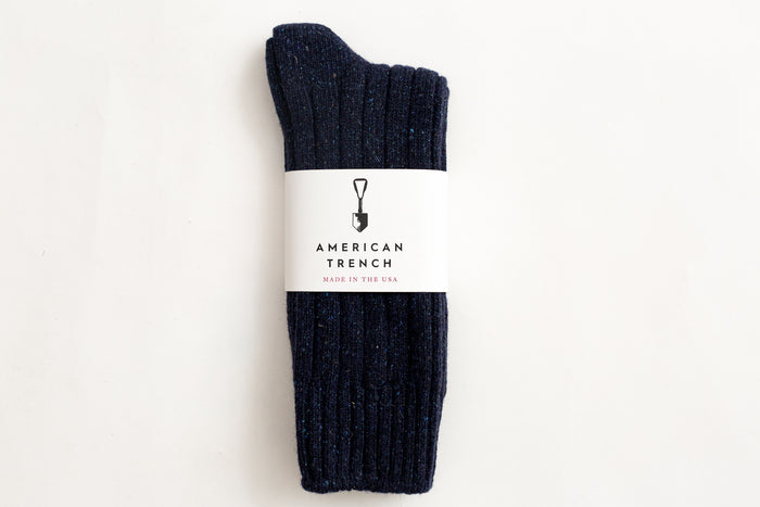 American Trench- Wool Silk Boot Sock-Navy