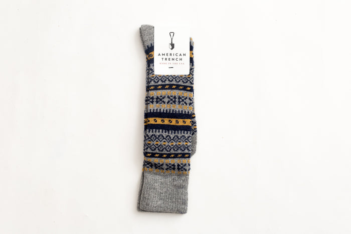 American Trench Fair Isle-Grey/Navy/Gold