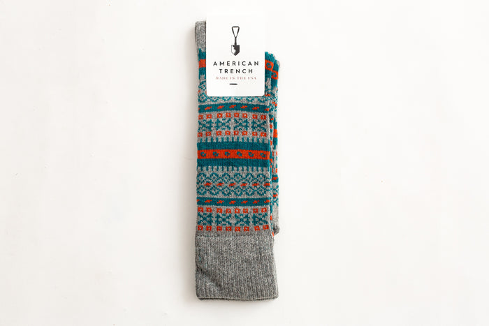 American Trench Fair Isle-Grey/Teal/Orange