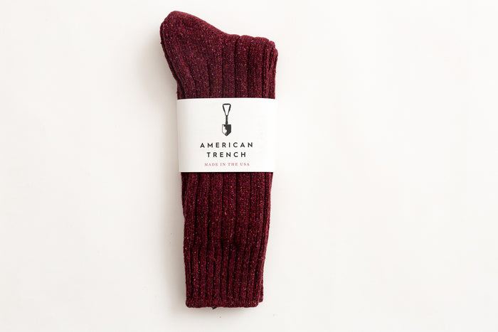 American Trench- Wool Silk Boot Sock-Burgundy