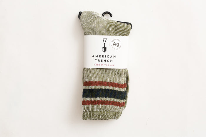 American Trench Merino Activity Sock-Olive/Rust
