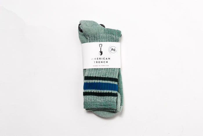 American Trench Merino Activity Sock-Green/Navy