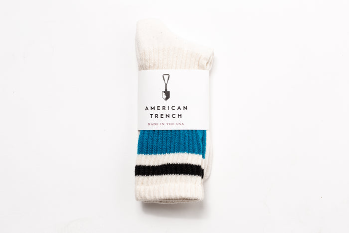 American Trench- Retro Stripe Sock-Teal