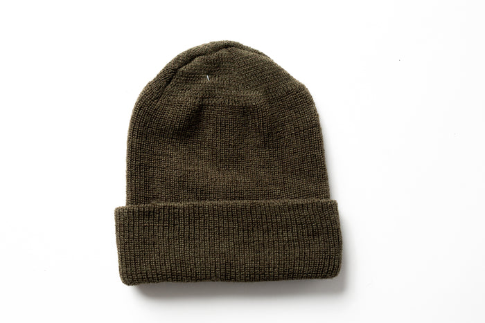 Beaux Biens 100% Wool Watch Cap-Olive-Made in USA