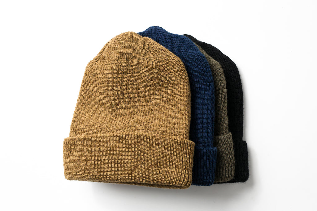 Beaux Biens 100% Wool Watch Cap-Navy-Made in USA