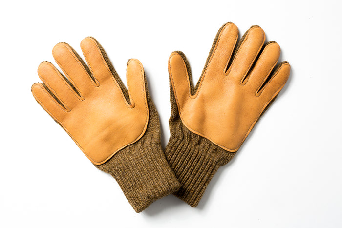 Beaux Biens 100% Wool/Deerskin palm gloves Made in USA-Coyote
