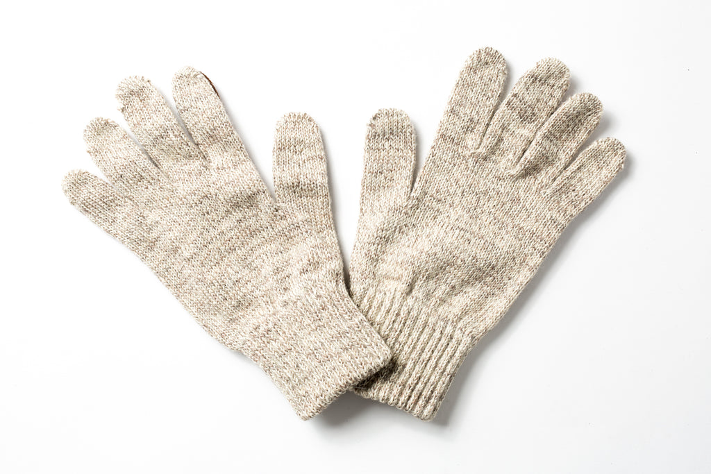 Beaux Biens 100% Wool/Deerskin palm gloves Light Grey-Made in USA