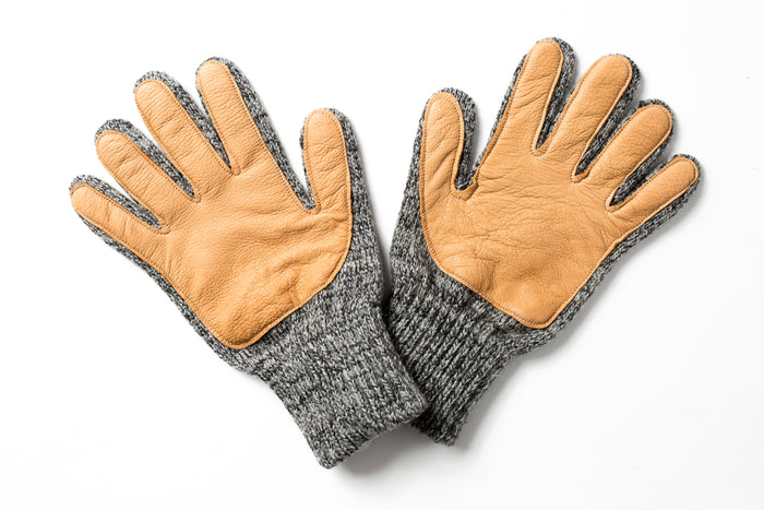Beaux Biens 100% Wool/Deerskin palm gloves Made in USA-Dark Grey