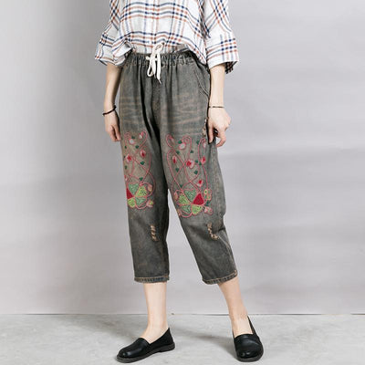 Embroidered Plant Worn Drawstring Nostalgic Jeans
