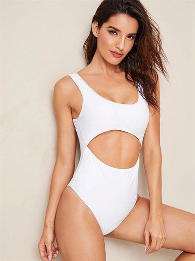 Hollow Plain One-piece Swimwear