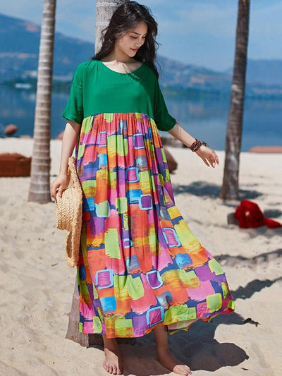 2019 Summer New Original Fashion Loose Split-joint  Maxi Dress