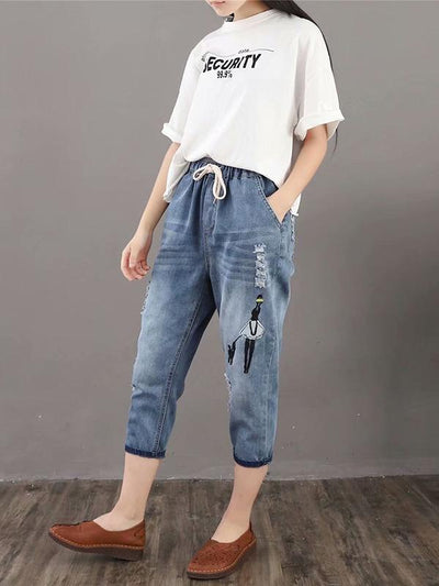 Retro Loose Jean Cropped Trousers