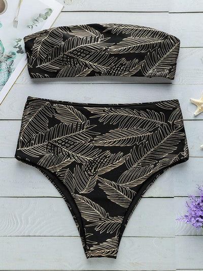 Sparkle Bandeau High Waisted Bikinis Swimwear