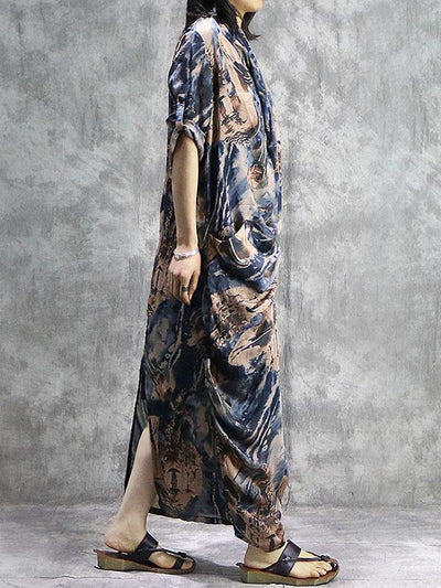 Loose National Silk 2-Pieces Long Dress