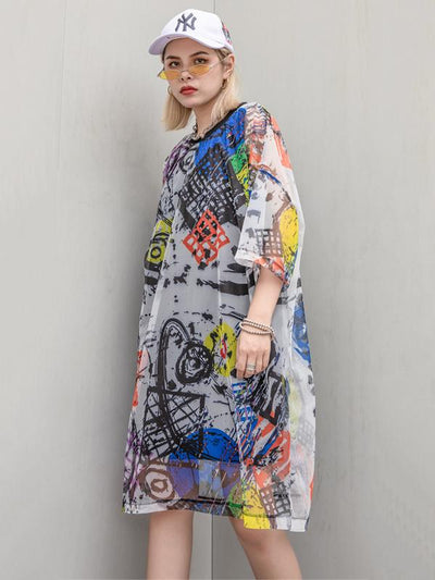 Irregular Printed 2-pieces Dress