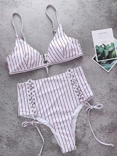 Fashion Stripes High Waisted Adjustable Bikinis Swimwear
