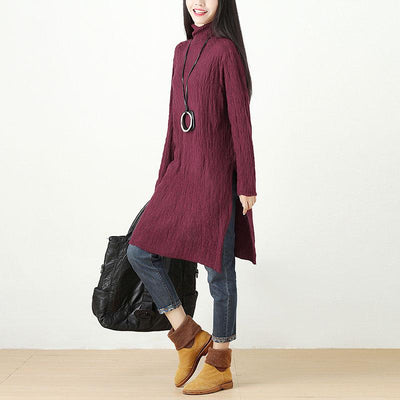 Autumn Winter Slit Fitting Red Dress For Women
