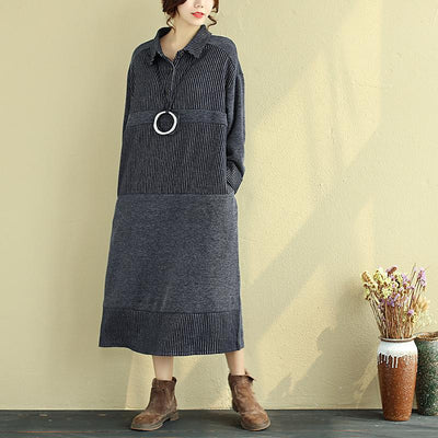 Polo Collar Buttons Long Sleeve Splicing Pockets Stripe Dress