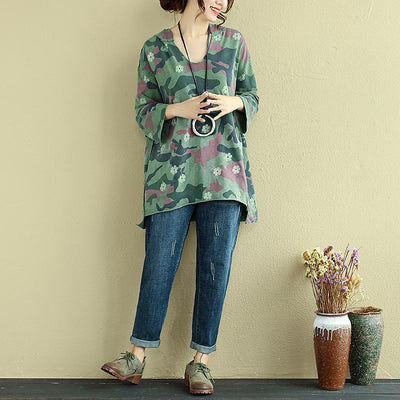 Women Hoodies Three Quarter Sleeve Printed Green Shirt