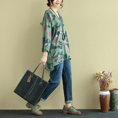 Women Hoodies Three Quarter Sleeve Printing Green Shirt