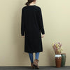 Women Long Sleeve Slit Solid Black Casual Long Shirt