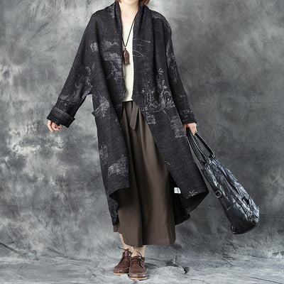 Women Woolen Long Sleeve Loose Warm Cardigan Printing Coat