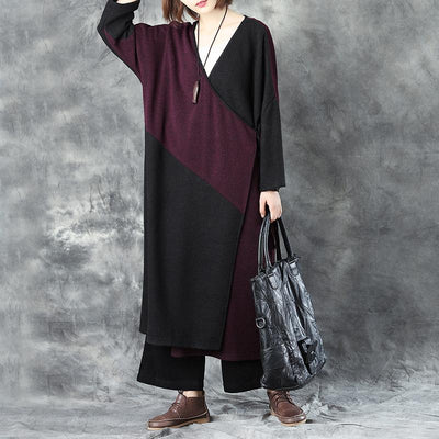 V Neck Long Sleeve Women Winter Warm Mixed Color Lacing Coat