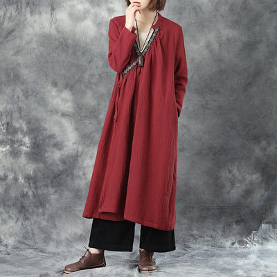 Women Splicing Delicate Emboridery Lacing Linen Red Coat